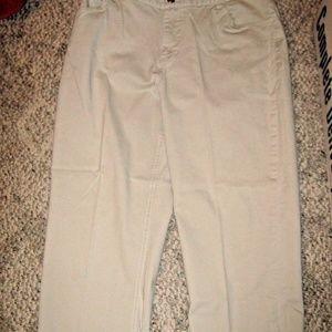 Light Khaki Tan 5 Pocket Stretch Capri Pants 14